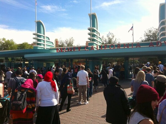 Disney California Adventure isn't spared from the Super Bowl crowds, either.