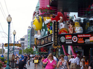 A typical crowded Strip in June.